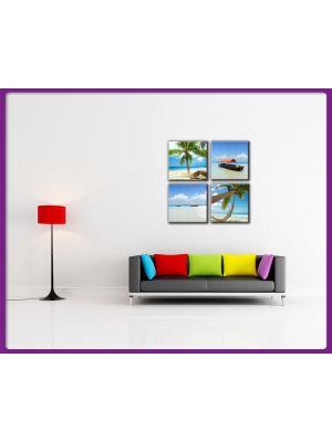 Foto print op canvas Set 4 delig Strand