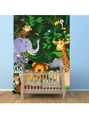 Fotobehang Grappig jungle dieren kinderkamer