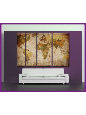 Canvas print Wereldkaart 4 delig