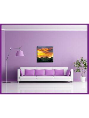 Foto print op canvas Zonsondergang boven berglandschap