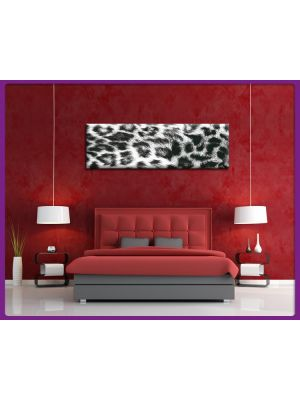 Foto print op canvas Panorama Luipaarden vel - Wit