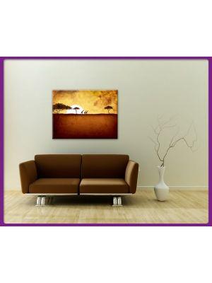 Foto print op canvas Giraffen bij zonsondergang