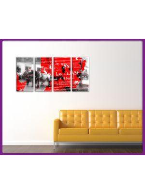 Foto print op canvas Paard met krantenartikel - 4 delig