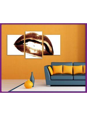 Foto print op canvas Lippen Vintage Sepia - 3 delig