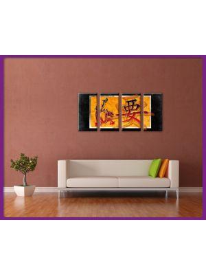 Foto print op canvas Chineze kunst met draken en tekens - 4 delig