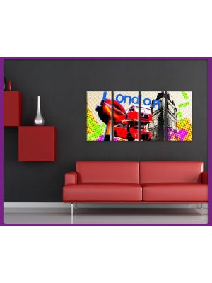 Foto print op canvas London Pixel - 4 delig