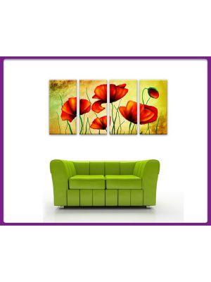 Foto print op canvas Klaprozen - 4 delig