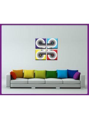Foto print op canvas Set 4 delig Retro Cirkel