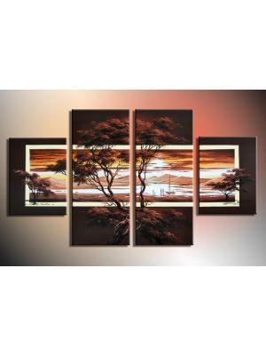 Afrikaanse kunst 1 - 4 delig canvas 120x70cm Handgeschilderd