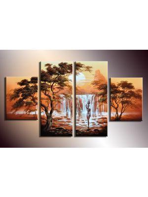 Afrikaanse kunst 2 - 4 delig canvas 120x70cm Handgeschilderd