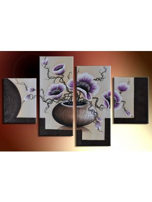 Bloemen 14 - 4 delig canvas 120x80cm Handgeschilderd