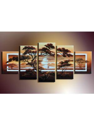 Afrikaans leven 4 - 5 delig canvas 150x70cm Handgeschilderd