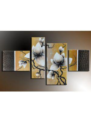 Bloemen 10 - 4 delig canvas 120x70cm Handgeschilderd