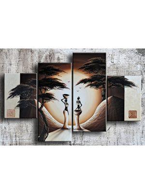 Afrika 18 - 4 delig canvas 120x80cm Handgeschilderd