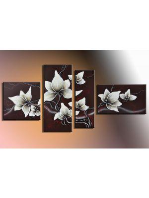 Bloemen 1 - 4 delig canvas 140x80cm Handgeschilderd
