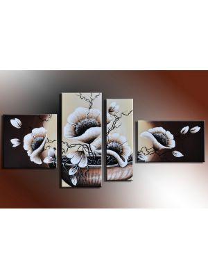Bloemen 2 - 4 delig canvas 140x80cm Handgeschilderd