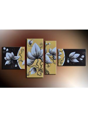 Bloemen 4 - 4 delig canvas 140x80cm Handgeschilderd