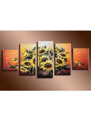 Zonnebloemen 1 - 5 delig canvas 150x70cm Handgeschilderd