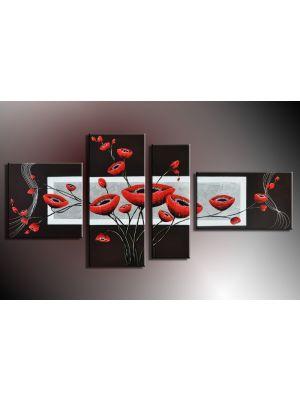 Bloemen 3 - 4 delig canvas 140x80cm Handgeschilderd