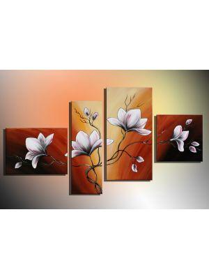 Bloemen 15 - 4 delig canvas 120x70cm Handgeschilderd