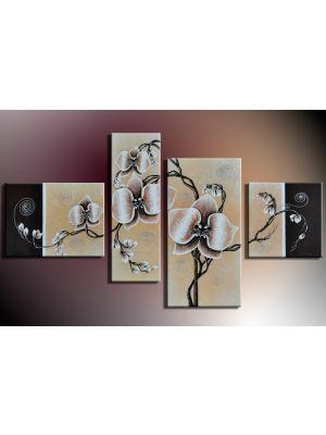 Bloemen M15 - 4 delig canvas 120x70cm Handgeschilderd
