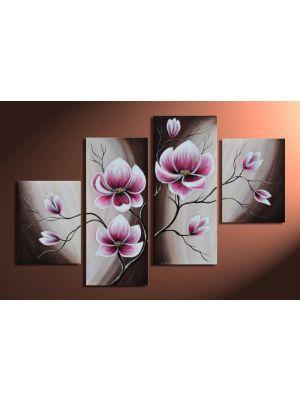 Magnolia 15 - 4 delig canvas 120x80cm Handgeschilderd
