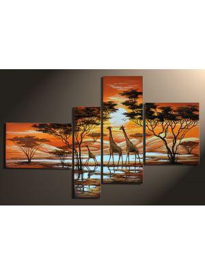Giraffen 1 - 4 delig canvas 140x80cm Handgeschilderd