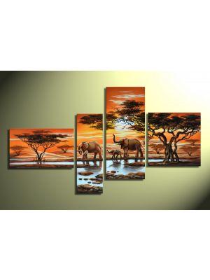 Olifanten 1 - 4 delig canvas 140x80cm Handgeschilderd