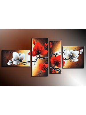 Bloemen 5 - 4 delig canvas 140x80cm Handgeschilderd