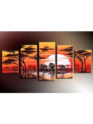 Olifanten Afrika 3 - 5 delig canvas 150x70cm Handgeschilderd