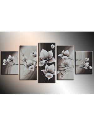 Magnolia 6 - 5 delig canvas 150x70cm Handgeschilderd