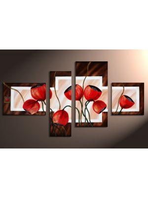 Bloemen motief 7 - 4 delig canvas 120x70cm Handgeschilderd