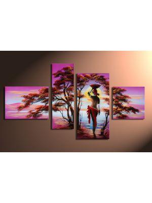 Afrikaanse dromen 2 - 4 delig canvas 120x70cm Handgeschilderd