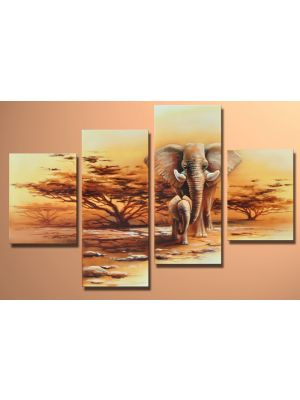 Olifant afrika M7 - 4 delig canvas 120x80cm Handgeschilderd schilderij