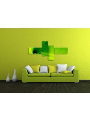Groene bladeren - Bananen bladeren - 200x90cm 4 delig - ingelijst