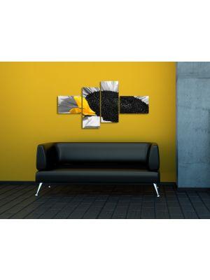 Zonnebloem - 150x80cm 4 delig - ingelijst