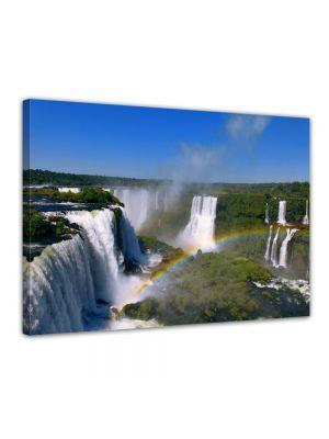 Iguazu waterval met regenboog - Foto print op canvas