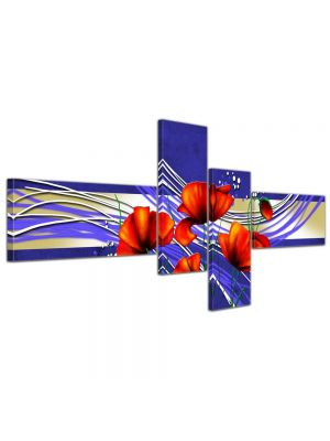 Abstracte Kunst Klaproos canvas - 200x90cm 4 delig - ingelijst