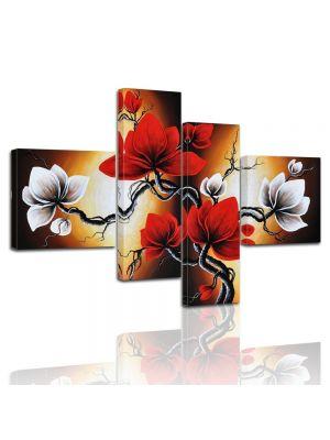 Canvas print Magnolia M2 100x70cm 4 delig - ingelijst P201