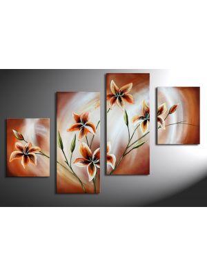 Bloemen motief 4 - 4 delig canvas 120x80cm Handgeschilderd