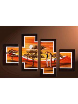 Afrika 5 - 4 delig canvas 120x80cm Handgeschilderd