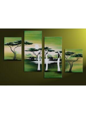 Afrika 11 - 4 delig canvas 120x80cm Handgeschilderd