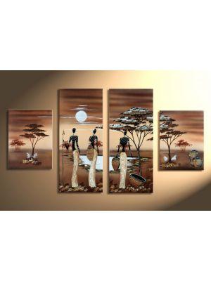 Afrika 12 - 4 delig canvas 120x80cm Handgeschilderd