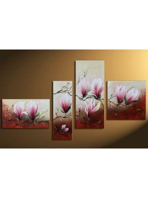 Magnolia motief 1- 4 delig canvas 140x80cm Handgeschilderd