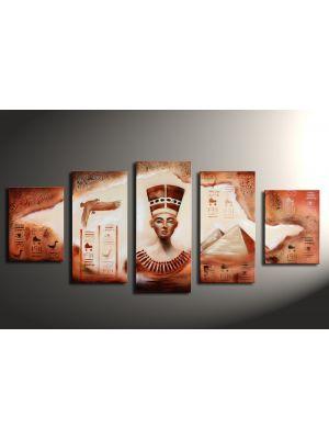 Egyptische pyramide - 5 delig canvas 150x70cm handgeschilderd