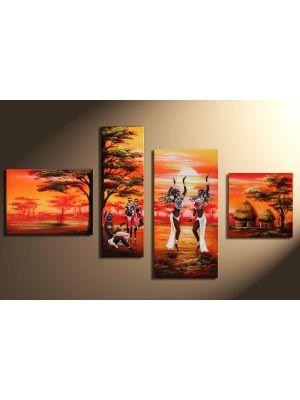 Afrika 15 - 4 delig canvas 120x70cm Handgeschilderd