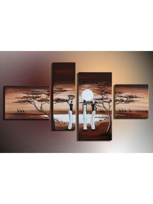 Afrika 13 - 4 delig canvas 120x70cm Handgeschilderd