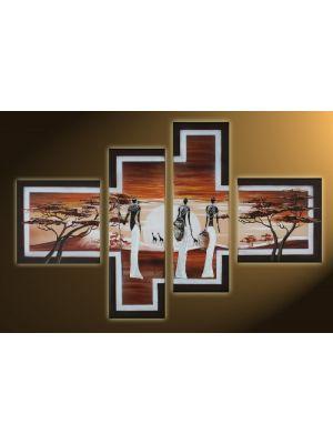Afrika 11 - 4 delig canvas 100x70cm Handgeschilderd