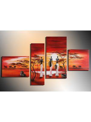 Afrika 14 - 4 delig canvas 120x70cm Handgeschilderd