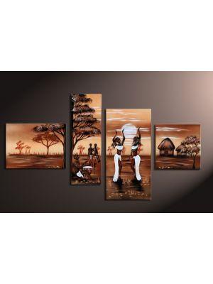 Afrika 16 - 4 delig canvas 120x70cm Handgeschilderd
